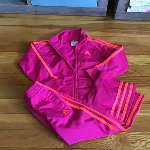 Girls 3T Adidas track suit HOT PINK EUC